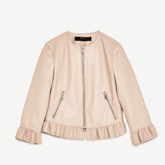 eec38e38 Zara blush pink faux leather ruffle jacket. M_5c2bae723c9844fbf7940e20.  Other Jackets & Coats ...